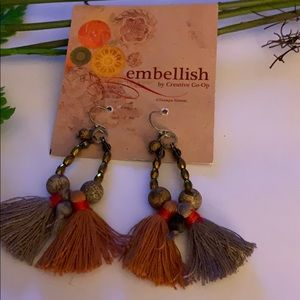 Handmade in India - double tassel earrings NWT!